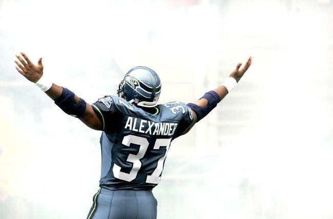 Shaun Alexander celebrates a touchdown.